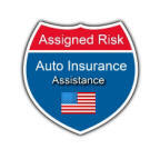 Assigned risk auto USA insurance logo. Office and helpline for consumers is.